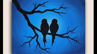 getlinkyoutube.com-Acrylic Painting on Canvas : Love Birds