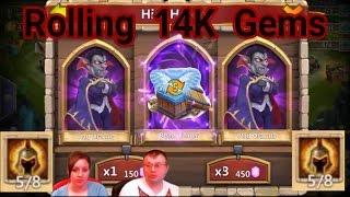 getlinkyoutube.com-Castle Clash Lucky Level 5 Talent Box and Rolling 14K Gems