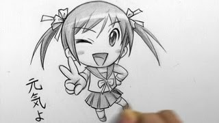 getlinkyoutube.com-How to Draw a Chibi: Winking, Peace Sign