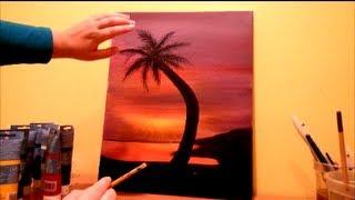 getlinkyoutube.com-How to paint a beach sunset STEP by STEP
