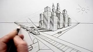 getlinkyoutube.com-How To Draw In Perspective: Road, Railway, Train, City