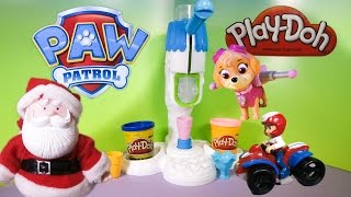 PAW PATROL Nickelodeon Visit Santa Claus Play Doh Ice Factory Toys Video