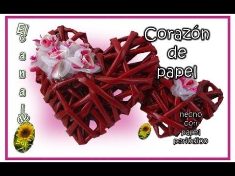 CORAZON DE PAPEL hecho con papel periódico - PAPER HEART made with newspaper