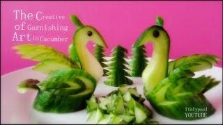getlinkyoutube.com-Art In Cucumber Swans - Fruit Vegetable Carving Garnish   Cucumber Sushi Garnish   Italypaul.co.uk