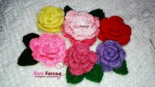 كروشيه الورده الملفوفه (المجسمه ) \ خيط وابره \ Crochet Flower 3D