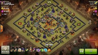 getlinkyoutube.com-Clash of Clans TH10vsTH10 3 Healer, 1 Golem, 12 Witch & 11 Wizard (Healer+GoWiWi) 3 Star Attack