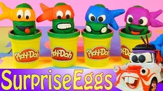 getlinkyoutube.com-Play Doh Teenage Mutant Ninja Turtles Surprise Eggs Disney Cars Mater Toys Egg + Elmo