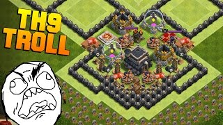 getlinkyoutube.com-Clash of Clans | New TH9 Troll Base | The Wall | + Noob Attacking Fails [2016]