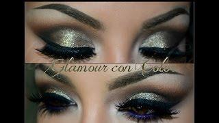 getlinkyoutube.com-Dorado Glamour con azul / Dramatic look with POP of color