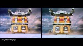 getlinkyoutube.com-Power Rangers Turbo Rescue Zords First Appearance Split Screen (PR and Sentai version)