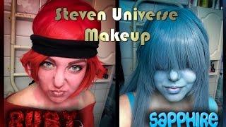 getlinkyoutube.com-Ruby and Sapphire (Steven Universe) - Makeup Tutorial