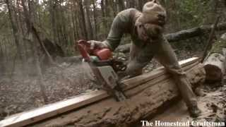 getlinkyoutube.com-Cutting Lumber with a Chainsaw - Reclaiming Fallen Trees