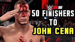 getlinkyoutube.com-WWE 2K16 | 50 Finishers To John Cena!