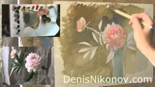 getlinkyoutube.com-Мастер-класс по живописи. Пионы маслом. Бесплатно