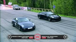 getlinkyoutube.com-Porsche 911 Turbo vs Nissan GT-R Battle