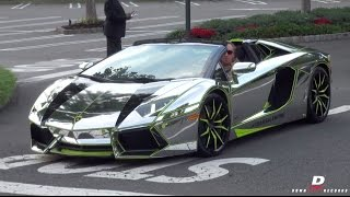 getlinkyoutube.com-Chrome Lamborghini Aventador Roadster - Start Up // Acceleration