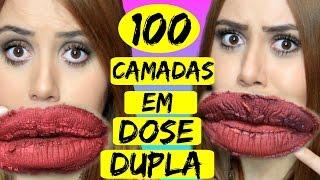 getlinkyoutube.com-100 CAMADAS DE BATOM EM DOSE DUPLA! - Sisters Lellis