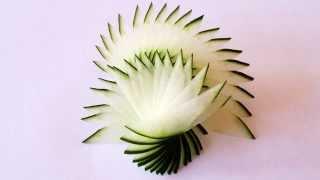 getlinkyoutube.com-How to make cucumber peacock feathers