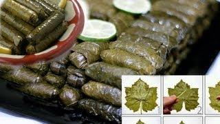 getlinkyoutube.com-Arabic Recipe #12 -Stuffed Grape Leaves ورق عنب