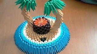 getlinkyoutube.com-How to make 3d origami tropical island part1