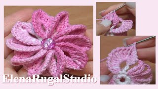 getlinkyoutube.com-How To Crochet Flower Asymmetrical Petals Tutorial 43 Egzotyczny kwiatek