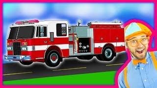 getlinkyoutube.com-Blippi Fire Trucks for Children | Fire engines for kids and Fire Truck Tour