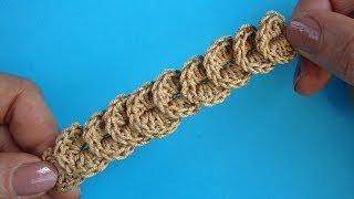 getlinkyoutube.com-Урок 318 Тесьма Чешуйки Сrochet crocodile border Вязание крючком