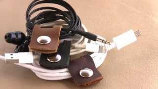 getlinkyoutube.com-Leather Cord Cable Earbud Holder - Small and Light cable or earphone keeper