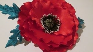 getlinkyoutube.com-Красивый мак, цветок из ткани своими руками / fabric flowers with his own hands / Мастер класс.