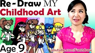 getlinkyoutube.com-OLD Art VS NEW Art -  Re - Draw + Color my Childhood Art - Art Video