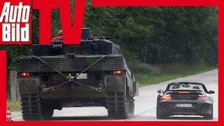 getlinkyoutube.com-Porsche 9ff vs. Leopard 2 tank - Boys and their toys