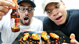 getlinkyoutube.com-GHOST PEPPER WINGS CHALLENGE!! (HOTTEST HOT SAUCE IN THE WORLD)