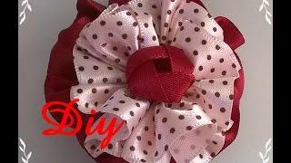 getlinkyoutube.com-Flor de fita franzida DIY \ Ruffled ribbon flower DIY