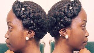 getlinkyoutube.com-GODDESS BRAIDS ON SHORT NATURAL HAIR! CROWN/HALO BRAID TUTORIAL!