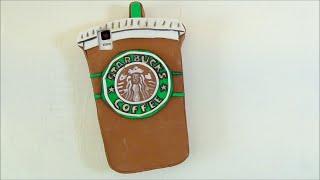 getlinkyoutube.com-Funda para móvil con la forma de un vaso de café del Starbucks. Manualidades fáciles