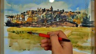 getlinkyoutube.com-Urban sketch, watercolor- Boceto urbano, acuarela-Cáceres