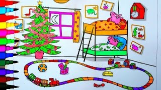 getlinkyoutube.com-PEPPA PIG Coloring Book Pages Peppa's Bedroom Kids Fun Art Learning Videos Kids Balloons Toys