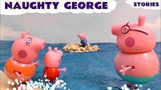 getlinkyoutube.com-Peppa Pig Play Doh Thomas And Friends Toys Dora Funny Story Naughty George Toy Rescue Play-Doh Pepa