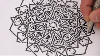 getlinkyoutube.com-How to draw Islamic geometry - adding detail to an extended 12-fold rosette