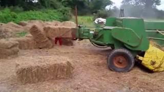 getlinkyoutube.com-Baling hay from round into square for horses @ Hughes farm Galbally Ireland