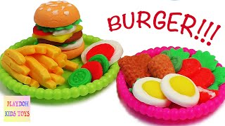 getlinkyoutube.com-Play-Doh Burger Hamburger Playdough Cooking Games Kitchen PlaySet Doh Food Kids Fun Toys