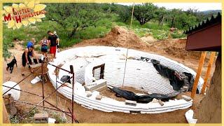 getlinkyoutube.com-Weekly Peek | Underground Earth Bag Building Ep 6 | Foundation for 2nd Story