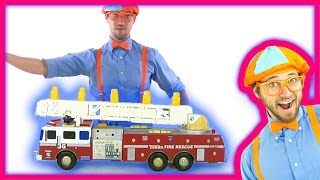 getlinkyoutube.com-Fire Truck toy putting out fires and playing with monster truck grave digger | Blippi Toys
