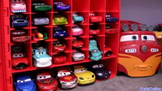 getlinkyoutube.com-Cars 2 storage carry case 30 die-cast DisneyPixar Mater's tall tales Kids Toys Trev Diesel Train