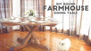 getlinkyoutube.com-DIY Round Farmhouse Dining Table | Modern Builds | EP. 53