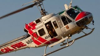 getlinkyoutube.com-Awesome Start Up and Take Off Super Huey CAL FIRE Copter 404 N494DF