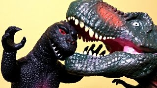 getlinkyoutube.com-Big T Rex Puppet vs Godzilla. Dinosaurs Toys For Kids