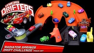 getlinkyoutube.com-:) Micro Drifters Radiator Springs Drift Challenge Track Playset Cars 2 Disney Drifting Racing