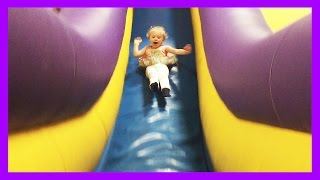 getlinkyoutube.com-American Girl Bitty Baby Dolls Go to Monkey Joes and Chuck E Cheese Bounce House Indoor Playground