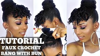 getlinkyoutube.com-How To Faux Crochet Bangs and Bun Tutorial On Short Natural Hair